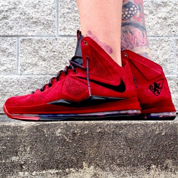 """c0fac4aab37 Nike LeBron X EXT """"Red Wine Suede"""" Customs by Zadeh Kicks"""