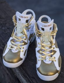 Custom Jordan 6s by Freehand Profit. Featuring Jordan 6 gas mask lace lock prototypes by Freehand Profit and 24K Gold laces by Aglit Italy. Laces available for purchase from www.aglititaly.com